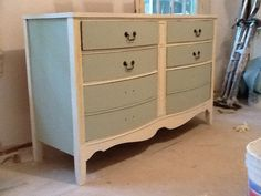 Chalk painted old dresser with formula I found on line using plaster of Paris and flat paint. Worked great. Used for double sink vanity  in attic project.
