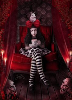 Dark Version of Alice in Wonderland. Red. Fantasy/Fairytale Art.