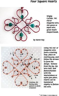 Jewelry Making Supplies Four Square Wire and Beads Hearts wire ornament made with WigJig Jewelry Making Tools, beads and jewelry supplies. Diy Jewelry Projects, Diy Jewelry Tutorials, Jewelry Supplies, Jewelry Ideas, Wire Ornaments, How To Make Ornaments, Wire Wrapped Jewelry, Wire Jewelry, Jewelry Tools