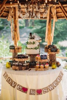 Rustic Wedding Cake with Burlap Love is Sweet Sign