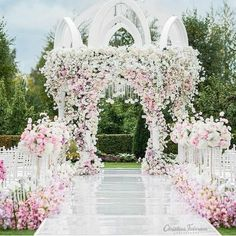 Wedding decoration is the first thing that will be the center of attention of invited guests. Therefore, the bride and groom often try to make their wedding decorations look attractive and can be a… Wedding Ceremony Arch, Wedding Stage, Outside Wedding, Wedding Aisles, Wedding Church, Elegant Wedding, Perfect Wedding, Dream Wedding, Wedding Decorations On A Budget