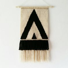 Woven Wall Hanging- Macrame Wall Hanging - Black and White Triangles