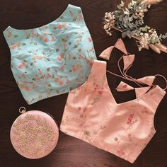 Pretty pastels Netted Blouse Designs, Blouse Designs High Neck, Simple Blouse Designs, Stylish Blouse Design, Bridal Blouse Designs, Net Blouses, Lehenga Skirt, Off Shoulder Fashion, Traditional Sarees