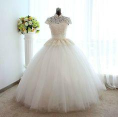 Princess Slim Vintage Lace A-line wedding dress bridal Gown Size custom-made