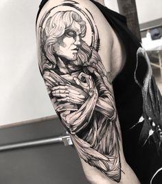 Tatuagem feita por Fredão Oliveira. #tatuagem #tattoo #blackwork #anjo #corpo