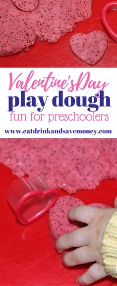 Check out this fun Valentine's Day craft to do with preschoolers. We make this easy play dough recipe during Valentine's Day every year. It's tons of fun for kids! #valentinesday #preschoolvalentine #funforkids #kidcraft