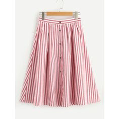 SheIn(sheinside) Buttoned Front Pleated Striped Skirt