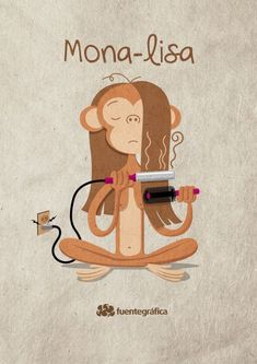 "de palabras, puns, Spanish, ""La Mona-Lisa"" (play on word 'lisa', which here means Mona is straitening her hair) Mona of course means monkey. Funny Puns, Hilarious, Spanish Puns, Speak Spanish, Spanish Class, Spanish Language, Funny Images, Funny Pictures, Mona Lisa"