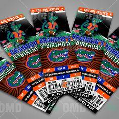 Florida Gators Ticket Style Sports Party Invitations #sportsinvites