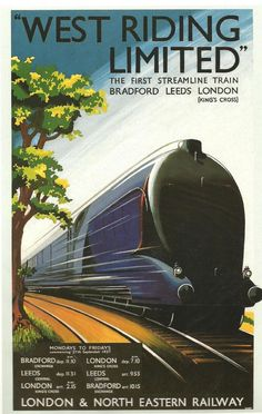 no 17 railway posters lner the west riding ltd Posters Uk, Train Posters, Railway Posters, Art Deco Posters, Poster Ads, Train Art, By Train, Travel Ads, Train Travel