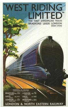 Old #Vintage Railway poster. Love the streamliner look #Train #SteamTrain