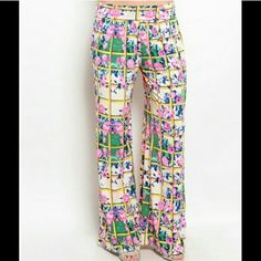 Colorful palazzo pants Gorgeous palazzo pants. Great colors and detail. Other sizes available while supplies last. Priced to sell, price is firm. Pants