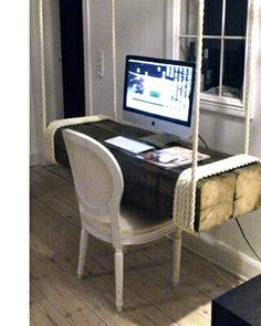 I want this! Gorgeous floating wooden desk.