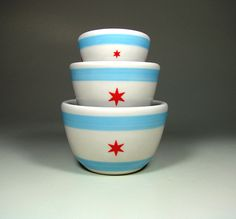 The Urban Set Chicago Flag  Made to Order by CircaCeramics on Etsy. Perfect for the Chicago household!