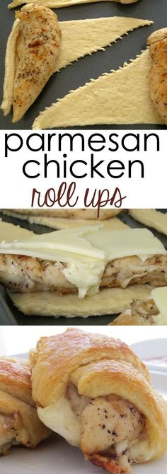 Looking for a quick and easy chicken dinner idea? These Parmesan Chicken Roll Ups will be one of your favorite easy chicken recipes. Simple meal idea for any day of the week.