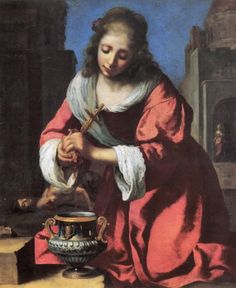 Saint Praxedis is an oil #painting attributed to Johannes #Vermeer. The work portrays the early Roman Christian martyr #Praxedis (or Praxedes), a virgin and venerated as a saint by Roman Catholic Church. On VintPrint.com as a #poster #forsale. #art
