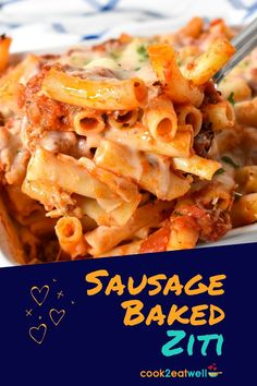 This baked ziti with sausage is a favorite at my house. In this easy recipe we use Italian sausage to make the pasta sauce. It's a wonderful ingredient that adds a ton of flavor so we can keep the rest of the ingredient list to a minimum. Then of course there's the cheese…a lot of cheese! This pasta dish will become a family favorite for sure.