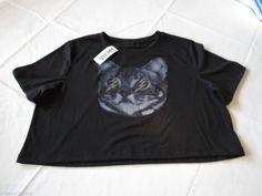 Young Romantics Juniors Womens L lg t shirt crop surf black Cat bolt eye NWT^^ #YoungRomantics #tshirt