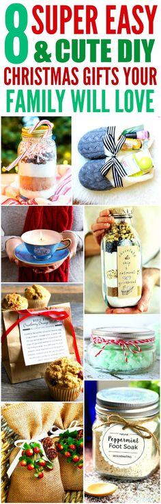 These 8 easy and cute DIY Christmas gifts are THE BEST! I'm so glad I found these AWESOME ideas! Now I have cool gift projects for friends and family! Definitely pinning!