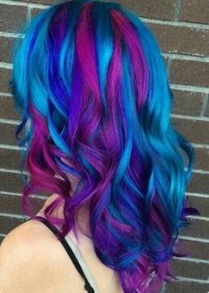 Pink purple and blue hair, would be perfect for bi pride!