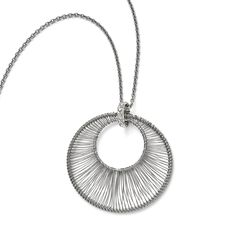 Stainless Steel Polished Wire Circle w/2in ext. Necklace SRN1692