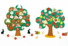 木の名前は「四季の木」。認知症の人と制作を楽しむときは、その人の得意な作業をしてもらうことが大事。「ぬり絵」「ちぎり絵」「切り絵」の中から選んで作りましょう。