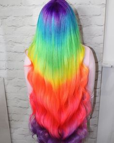 Amazing rainbow hair using #UnicornHair in Pony, Anime, Salad, Tweet, Neon Peach, Bubblegum Rose, and Moonchild via @officialzsazsa.