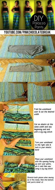 How To Make Palazzo Pants in 20 min   Discover more easy sewing tutorials here http://paixaofortes.com/diy-diva-sewing-kit/diy-clothes-tutorials/