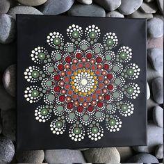 "12""x12"" Hand-Painted Mandala on Canvas - dot painting"