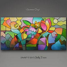 Original abstract painting, custom art, a garden painting with geometric florals, stained glass, mosaic, cubism, gardens, summer in colors,