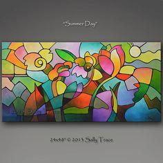 Original pintura de paisaje abstracto, pintura abstracta de la flor, pintura geométrica, floral vitrales pintura
