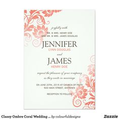 Custom Classy Ombre Coral Wedding Invitations created by colourfuldesigns. This invitation design is available on many paper types and is completely custom printed. Lilac Wedding Invitations, Wedding Invitation Design, Zazzle Invitations, Wedding Stationery, Invitation Cards, Invitation Ideas, Fall Wedding, Our Wedding, Wedding Invitations