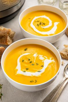Thai Butternut Squash Soup, Elegant Appetizers, Spicy Thai, Dish Towels, Soup And Salad, Cooking Time, Instant Pot, The Help, Cooker