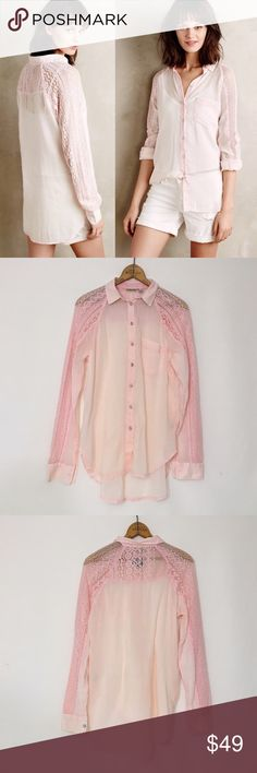 Anthropologie HOLDING HORSES LaceSleeve Buttondown New, unworn Condition; partial secondary retailer tag attached. Sheer and will require appropriate undergarments. Cotton chambray. Intentionally faded look. Sheer lace sleeve and back detail. Button front. Hand wash. Anthropologie Tops Button Down Shirts