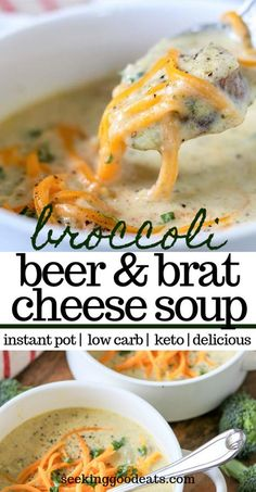 Keto Broccoli Cheese Soup with Beer Brats (Keto Instant Pot Recipe) This Instant Pot broccoli cheese soup with brats and beer is the best! Using a low carb beer this healthy soup is low carb and keto-friendly Keto Foods, Ketogenic Recipes, Diet Recipes, Dessert Recipes, Ketogenic Diet, Breakfast Recipes, Low Carb Soup Recipes, Recipes Dinner, Ketos Diet
