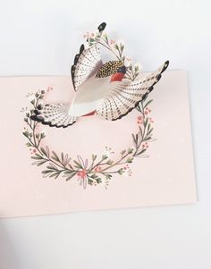 A petite bird soars outward, bearing laurels for the recipient. Featuring gold foil and white pearlescent envelope. Cool Paper Crafts, Paper Crafts Origami, Diy Arts And Crafts, Foam Crafts, Pop Up Flower Cards, Pop Up Art, Paper Pop, Kirigami, Handmade Birthday Cards