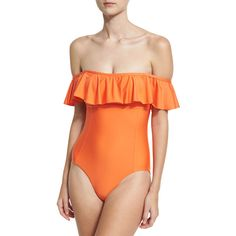 Splendid Sun-Sational Solid One-Piece Swimsuit (455 RON) ❤ liked on Polyvore featuring swimwear, one-piece swimsuits, orange, orange swimsuit, off-the-shoulder swimsuits, 1 piece bathing suits, off-the-shoulder bathing suits and one piece bathing suits