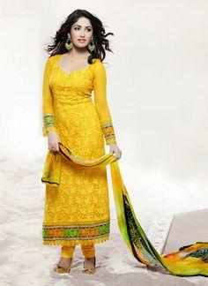 Yami Gautam's Embroidered Churidar Suits #salwaar kameez #chudidar #chudidar kameez #anarkali #anarkali suits #dress #indian #outfit  #shaadi #bridal #fashion #style #desi #designer #wedding #gorgeous #beautiful