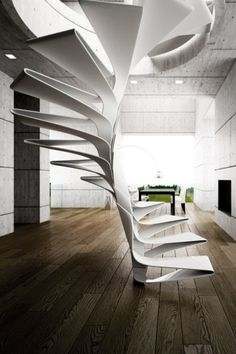 Abstract and very uniquely designed staircase. Almost looks origami-like. A rather bold yet delicate piece.