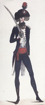 """April 25, 1790, Plate 1. Issue no. 7. Giuliana Chesne Dauphiné Griffo describes this plate as: """"Officer's uniform with gilded brass buttons depicting the city's arms and the number of his division and battalion."""""""