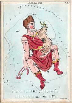 "Auriga the Charioteer. As depicted in the 19th century Urania's Mirror. He's hold the reins, but no sign of a chariot!  ©Mona Evans, ""Auriga the Charioteer""  http://www.bellaonline.com/articles/art50001.asp"