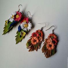 """Купить Серьги из кожи """" Разноцветье """" - разноцветный, серьги из кожи, кожаные цветы"""