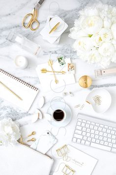 White and Gold on marble styled desktop. Styled stock photography by Shay Cochrane for the SC Stockshop.