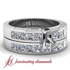 Diamond Engagement Wedding Rings Set In Channel & Pave Set