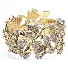 Women's Oscar De La Renta Crystal Flower Bracelet (89760 RSD) ❤ liked on Polyvore featuring jewelry, bracelets, crystal gold, swarovski crystal jewelry, crystal bangles, crystal stone jewelry, flower jewellery and oscar de la renta