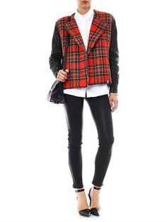 PREEN Bo leather and tartan biker jacket