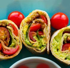BLT Roll-Ups with Easy Ranch Dip. Smoky vegan bacon avocado juicy tomatoes and a perfectly charred tortilla. Vegan Vegetarian, Vegetarian Recipes, Healthy Recipes, Vegan Food, Delicious Recipes, Whole Foods, Whole Food Recipes, Vegan Snacks, Vegan Dinners