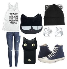 """""""MEOW"""" by emily10collins04 ❤ liked on Polyvore featuring H&M, Silver Spoon Attire, Bling Jewelry, Converse and Valfré"""