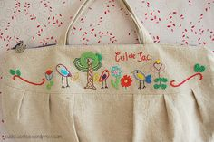 free embroidery pattern hand embroidered small zippered bag
