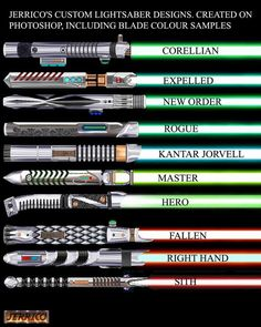 more Lightsaber designs, these are the original ones with blade colour samples included, they would make awesome prop replicas but would probably be very expensive all made on photoshop from 2007 o. Star Wars Trivia, Star Wars Facts, Lightsaber Design, Custom Lightsaber, Lightsaber Hilt, Star Wars Pictures, Star Wars Images, Sabre Laser, Nave Star Wars
